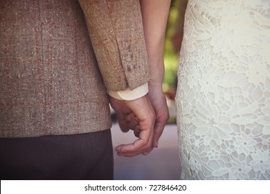 Just married couple holding their hands, rear view