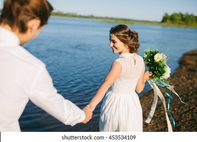 Just married couple on a beach. Wedding inspiration