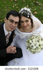 Just married couple smiling