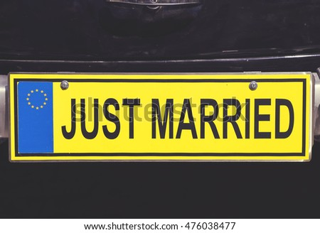 Just Married Euro License Plate On Stock Photo Edit Now 476038477