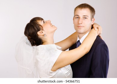 Just married kissing couple