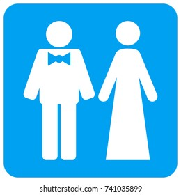 Just Married Persons raster icon. Image style is a flat icon symbol perforated in a blue rounded square shape.
