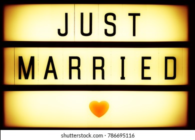 Just married retro cinematic sign, wedding sign, romantic signs, love heart