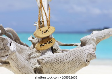 Just married sign on driftwood in front of blue ocean