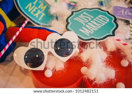 Just Married Wording Colorful Photography Props Stock Photo Edit