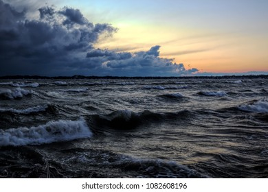 Just past sunset on a very cold, windy Christmas night at Crystal Beach on Lake Erie. A massive, dark storm system was moving quickly east, directly across the lake towards Erie, PA.