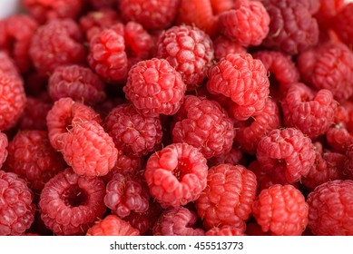 Just picked ripe raspberries background