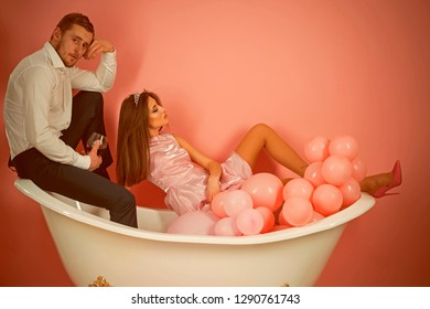 Just relaxing. Family couple enjoy everyday hygiene. Healthy life style. Routine of everyday life. Couple in love relax in bathroom. Everyday family life. Having their own daily routine.
