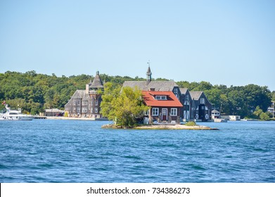 The Just Room Enough Island. 1000 Islands and Kingston in Ontario, Canada