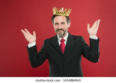 I am just superior. Award and achievement. Feeling superiority. Being superior human. Man bearded guy in suit hold golden crown symbol of monarchy. Superior and narcissistic. Become king ceremony.
