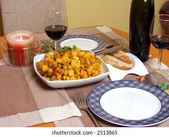 just or two. Chickpea with tomato sauce, beef, chicken and onions on decorated table