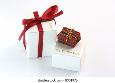just for you gift box wrapped with red ribbon and a tiny gift box valentines day concepts