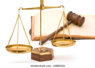 justice concept with gavel, book and scales of justice