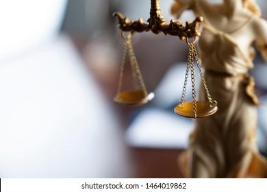Justice concept. Law symbols in composition.