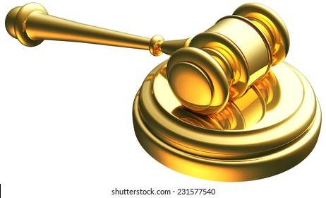 justice gavel gold 3d rendering with clipping path
