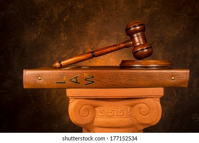 Justice gavel on law book
