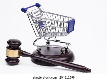 Justice Gavel with Shopping Cart on a white background