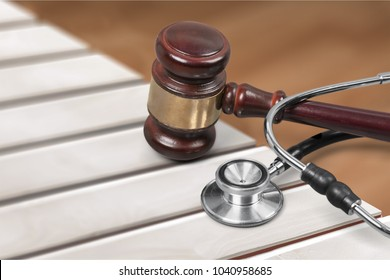 Justice gavel and stethoscope