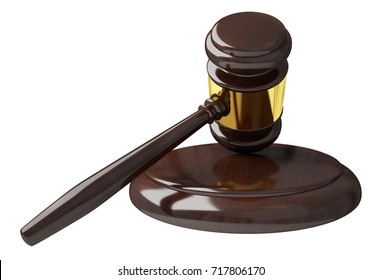 Justice hammer isolated on white background 3D rendering