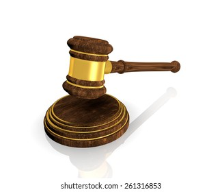 justice and judge  gavel, on white background.