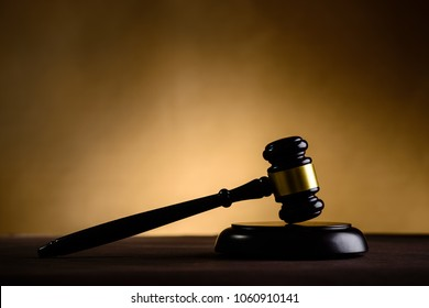 Justice and law concept. Judges gavel and law book on the table