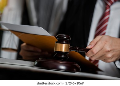Justice and law concept. Lawyer business working on table office.