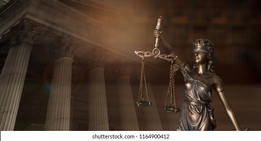 Justice law legal concept. statue of justice with law library background and courthouse.