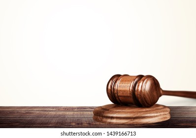 Justice law wooden gavel on wooden desk
