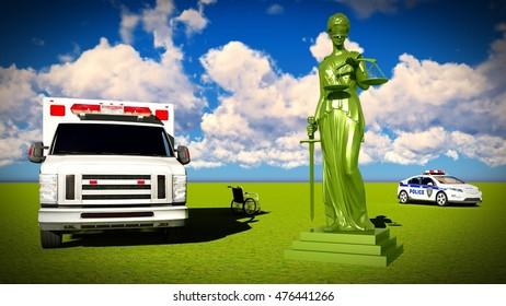 Justice in medicine 3d rendering