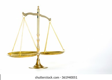 Justice of scale with white background.