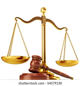 Justice scale and wood gavel