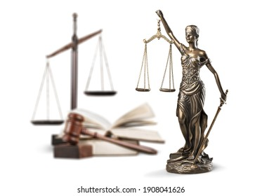 Justice Scales and books and wooden gavel . Justice concept