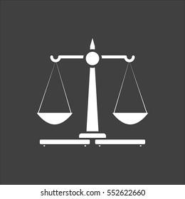 Justice Scales icon flat. White symbol illustration isolated on grey background