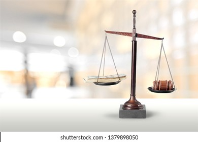 Justice Scales and wooden gavel. Justice concept