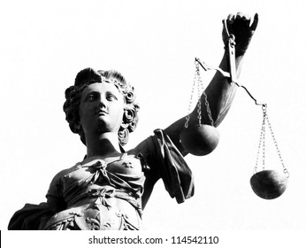 Justice statue in black and white