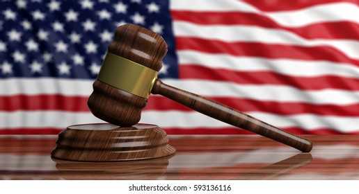 Justice in USA. Law gavel on a wooden desk, United States of America flag background. 3d illustration
