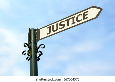 JUSTICE WORD ON ROADSIGN