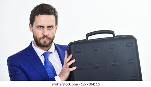 Justification for proposed project or expected commercial benefit. Man hold briefcase. Business profit. Commercial offer. Businessman demonstrate briefcase. Business conference. Business attributes.