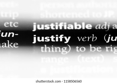 justify word in a dictionary. justify concept.
