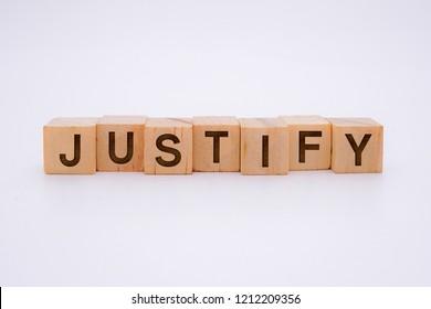 Justify Word Written In Wooden Cube
