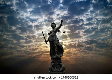 Justilia, Lady Justice or Themis against sunlight