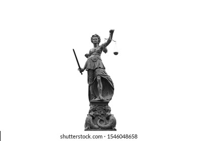 Justilia or Themis (Symbol of Justice) statue isolated on white background with clipping path