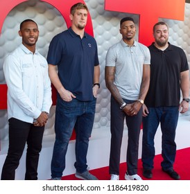 Justin Bethel, Ryan Schraeder, Kent Bazemore and Wes Schweitzer Tee Up Atlanta at the College Football Hall of Fame in Atlanta Georgia - USA , September 17th 2018-Tour Championship PGA Tour golfers