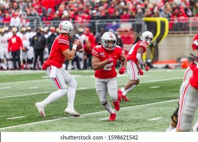 Justin Fields #1 - NCAA Division 1 Football University of Maryland Terrapins  Vs. Ohio State Buckeyes on November 11th 2019 at the Ohio State Stadium in Columbus, Ohio USA