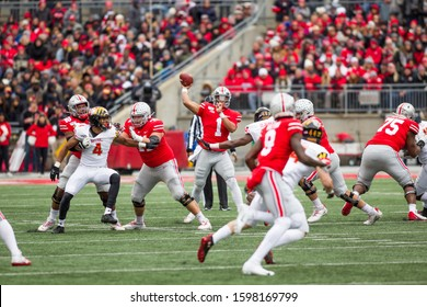 Justin Fields #2 - NCAA Division 1 Football University of Maryland Terrapins  Vs. Ohio State Buckeyes on November 11th 2019 at the Ohio State Stadium in Columbus, Ohio USA