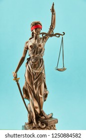 Justitia Bronze Statue with Libra and Sword and Blindfold for Justice