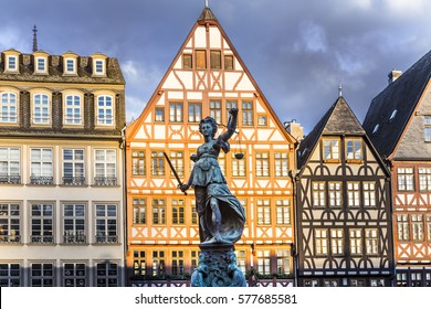 Justitia - Lady Justice - sculpture on the Roemerberg square in Frankfurt, built 1887