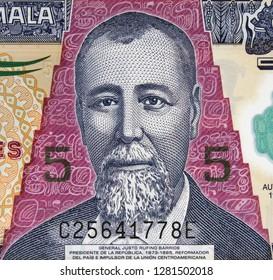 Justo Rufino Barrios portrait on Guatemala new 5 quetzal (2011) banknote closeup. President of Guatemala.