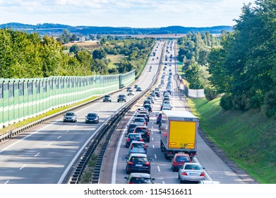Juszkowo, Poland - August 12, 2018: Traffic jam at expressway S6.