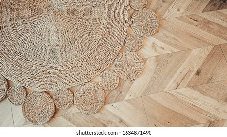 Jute braided home spiral rug background texture pattern top view